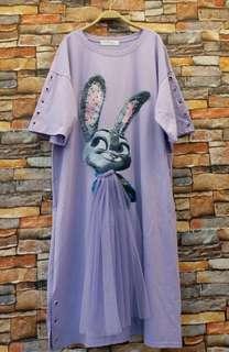 正韓 紗兔子寬鬆落肩長版衣