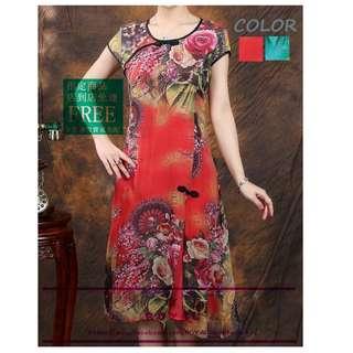 中國風復古花色旗袍連身裙/旗袍 A8485