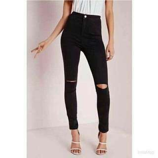 High waist black ripped jeans