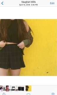 Pleated Plaid Green Mini Skirt A-Line