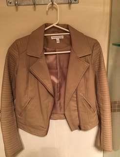 Taupe Leather Jacket - Size 8