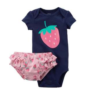 *6M* Brand New Carter's 2 Piece Bodysuit and Diaper Cover Set For Baby Girl