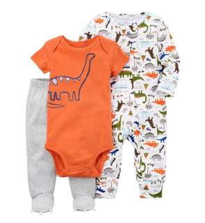 *6M* Brand New Carter's 3-Piece Dino Sleep and Play Set For Baby Boy