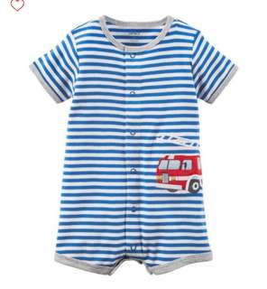 *6M* Brand New Carter's Firetruck Snap Up Cotton Romper For Baby Boy