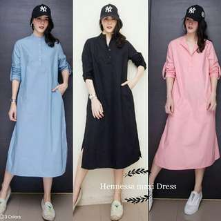 Maxi dress polos tunik polos hennesa TUNIK dress kemeja dress katun