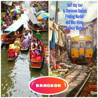 Bangkok Thailand half day tour to Damneon Saduak Floating Market & Mae Klong Railway Market