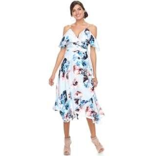 Jennifer Lopez Cold-Shoulder Faux-Wrap Up Dress