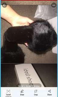 Black fluffy slides