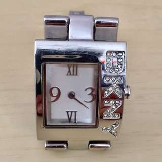 DKNY,Donna Karen,female,women,girls,lady,silver colour,stainless steel,analog,square dail,wristband,watch,NY4508,24mm diameter,NEW Japan Maxell battery,no packing,銀色,不銹鋼,方型,女裝,手錶,已更換日本電池