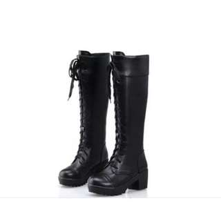 Black Knee High Martin Boots for Cosplay (PRE-ORDER)