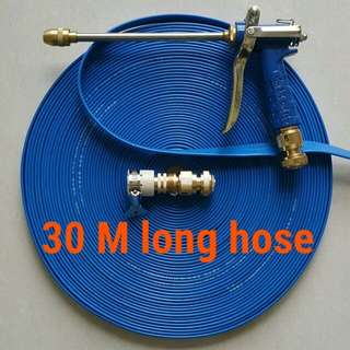 """Charm blue spray gun head (High pressure) with 30 M long foldable hose (The inside diameter is 1/2"""" about 12.5mm )"""
