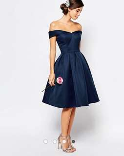 BRAND NEW WITH TAG Chi Chi London Midi Prom Dress NAVY