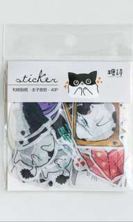 [Stickers] #25 White-Black Tabby Cat Stickers for diary and scrapbooking
