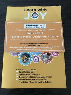 🚚 Sale 🌈 2 Free Abacus & Mental Arithmetic Lessons Voucher ~Learn with Joy
