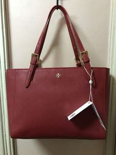 Authentic Tory Burch Red York Small Buckle Tote