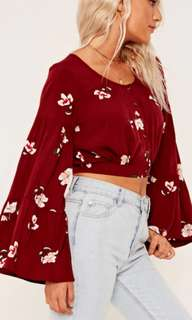 (16) Glassons long sleeved crop flower blouse