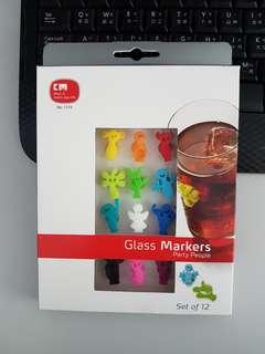 一套十二個紅酒飲品識別器 膠貼 玻璃杯標籤