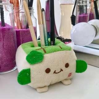 Tofu Cute Plush Makeup Phone Holder Green Biege