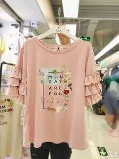 🚚 粉色造型上衣