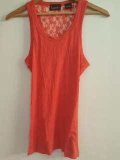 Salmon Red tank with lace back