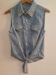 Jean look tank top tie front with jewel pearl
