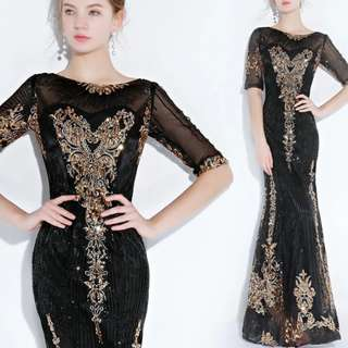 Elegant black mermaid gold embroidery Dress / evening gown