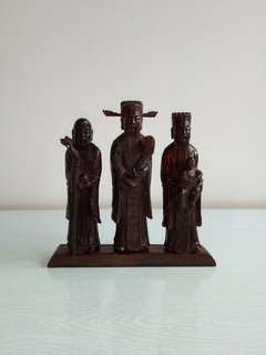 Classic Republic Black Wood Carving Fu Lu Shou Height 15-17cm Perfect condition