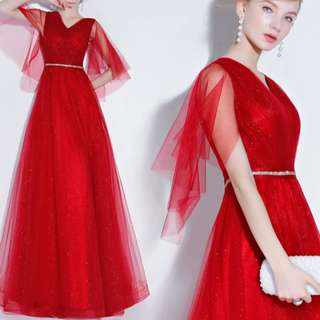 Elegant Red mesh sleeve Dress / evening gown