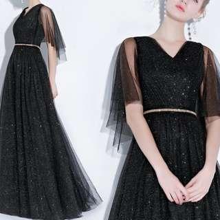 Shiny black mesh sleeve Dress / evening gown
