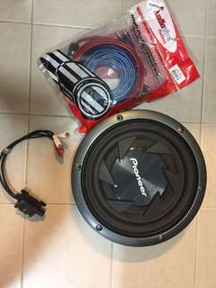 "Pioneer 10"" slim sub with 8ga wiring kit & RCA volume controller"