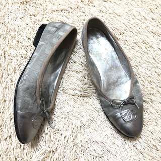 Authentic CHANEL Silver-gray Ballerina Flats