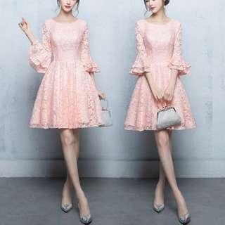 Trumpet sleeve pink Dress / evening gown
