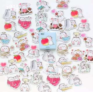 [Stickers] #38 Hamsters in Love Stickers for diary and scrapbooking