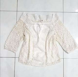 2 pc white lace top