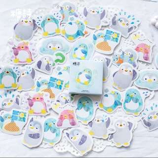 [Stickers] #39 Rolling Penguin Stickers for diary and scrapbooking