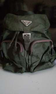 Prada nylon military green backpack