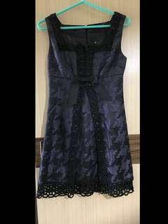 免運費❗️ Anna Su 安娜蘇 正品 紫色 黑色 鏤空 雕花 無袖 洋裝 放領 設計師 蝴蝶結 顯瘦 藏肚 幾何圖形 氣質 小禮服