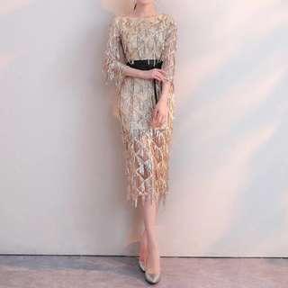 Gold sequin Dress / evening gown