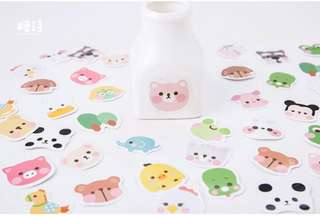 [Stickers] #40 Flushed Animal Faces Stickers for diary and scrapbooking