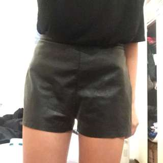 American Apparel leather shorts