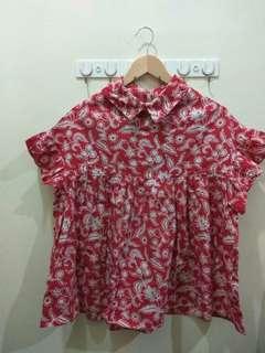Red Floral Batik Tops
