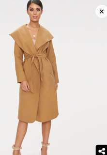 PRETTY LITTLE THING camel waterfall coat