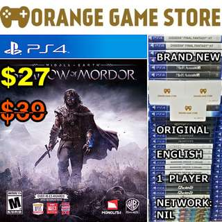 PS4 Middle Earth Shadows of Mordor