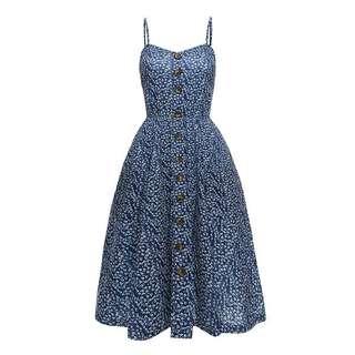 RCEFG051916BU - Summer Blue Floral Dress