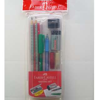 BNIB Faber-Castell Writing Set Clear Box - Pen/ Pencil/ Leads/ Eraser