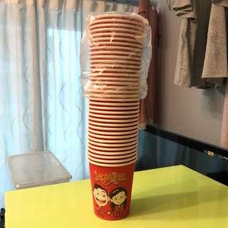 過大禮 斟茶用 紅紙杯 36隻[婚後物資]