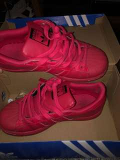 red Adidas Superstars size 3Y (5 women's)