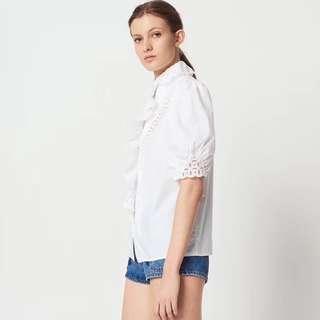 2018年夏季Sandro新款 簍空花苞拼接襯衫 白襯衫
