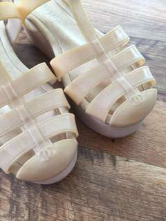 Chanel platform jelly shoes
