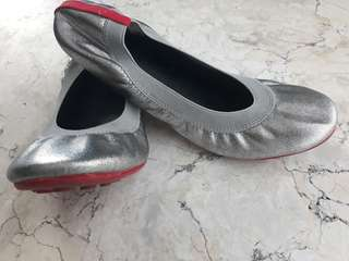 Silver Black Garterized Ballet Shoes
